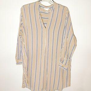 H&M tan and black striped long sleeve shift dress